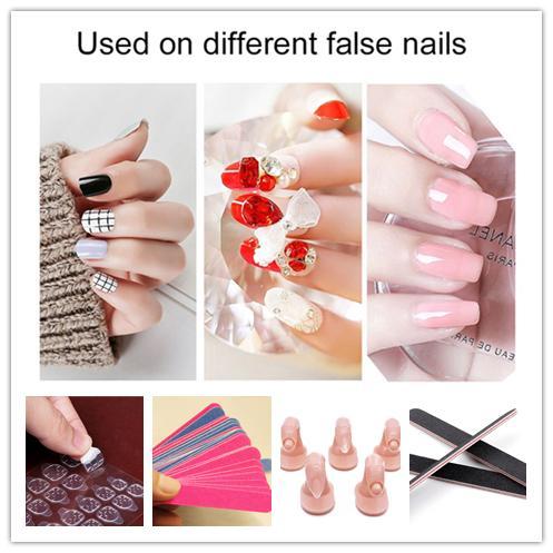 Strumenti per unghie finte Combinazione Adesivo biadesivo Adesivo per unghie Lima per unghie Strumenti per manicure Abbellimento falso