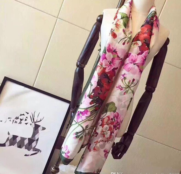 top popular Brand Silk scarf Pashmina for Women 2019 Summer Brand Floral Flower Long Scarves Scarfs Wrap 180x90Cm Shawls S227 2021