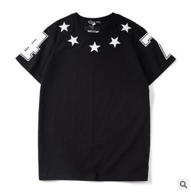 Livraison gratuite de haute qualité style styliste femmes / hommes coton O-cou flocage étoiles impression à manches courtes T-shirt hip hop casual Tee