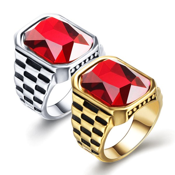 Fashion gold perfect cut red crystal rectangle Austrian crystal luxury men and women finger ring wholesale Christmas gift 18krgp