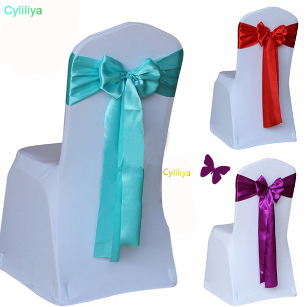 Wholesale Wedding Chair Cover Sash Bow Tie Ribbon Decoration Wedding Party Supplies 14 Color for Choose
