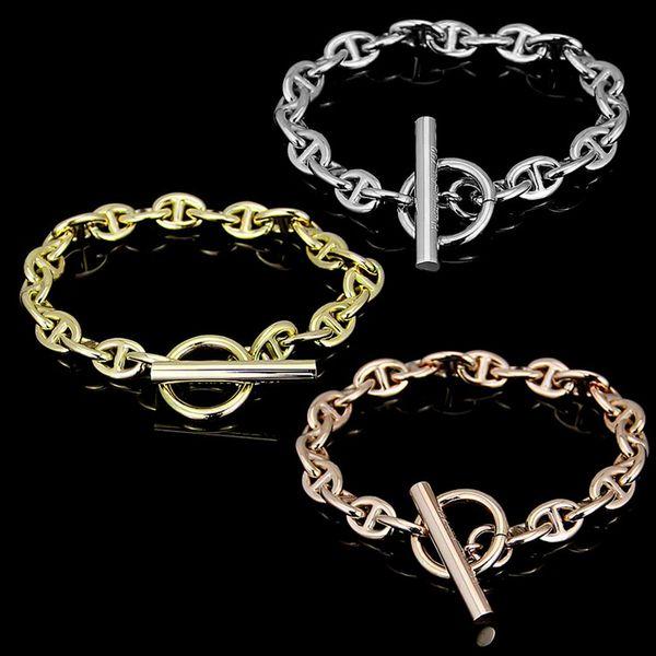 Rose glod Round OT Buckle Heart charm Bracelets For Women and Men Fine Jewelry Top Quality Titanium Steel Silver Bangle Bracelet pulseiras