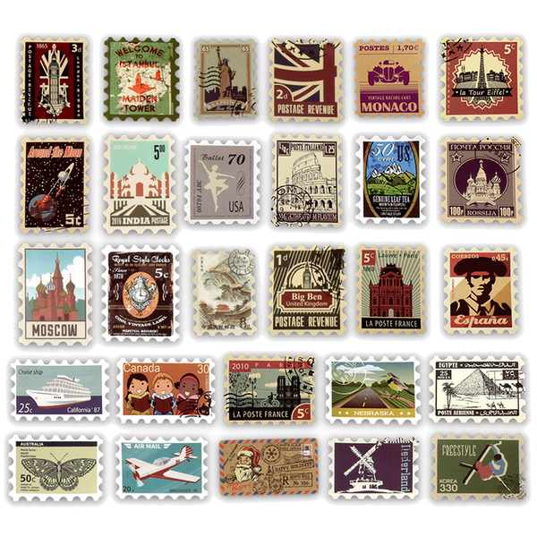 top popular 50 PCS Waterproof Retro Travel Stamp Stickers Decals Toys for Kids Adults Teens to DIY Laptop Handbook Diary Envelope Luggage Postcard Album 2021