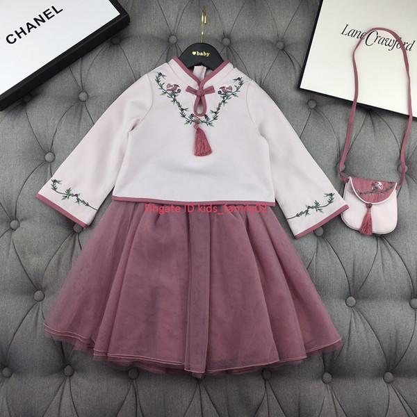 Девушки юбка набор детская дизайнерская одежда топы + юбка 2шт хлопок смесь материал осень китайский стиль цветок вышивка набор