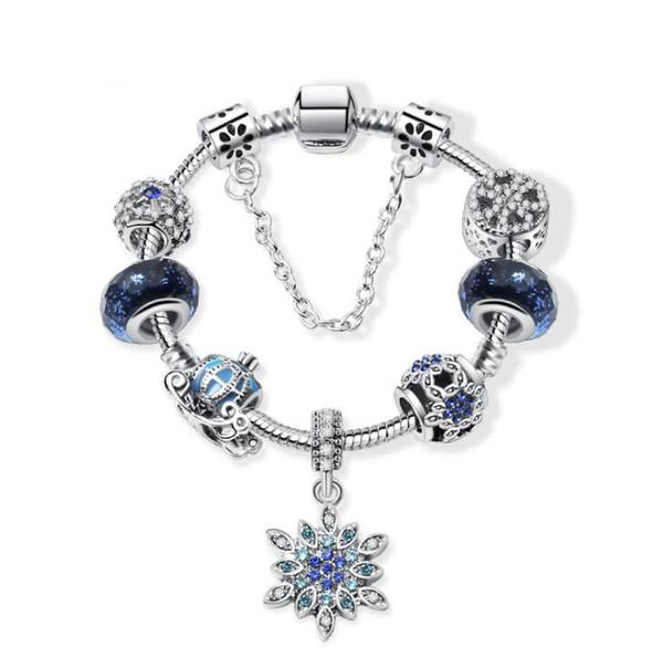 Neue weihnachten schnee kürbis auto hängen blue star armband passt europäischen anhänger zubehör armreif valentinstag geschenk diy hochzeit schmuck