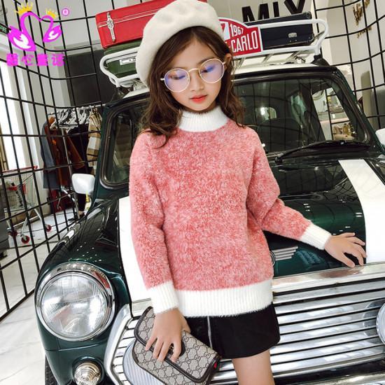 Abbigliamento per bambini Maglioni lavorati a maglia Maglioni di lana di visone Maglieria morbida calda a maniche lunghe Autunno Inverno Kids Girl Maglioni rosa