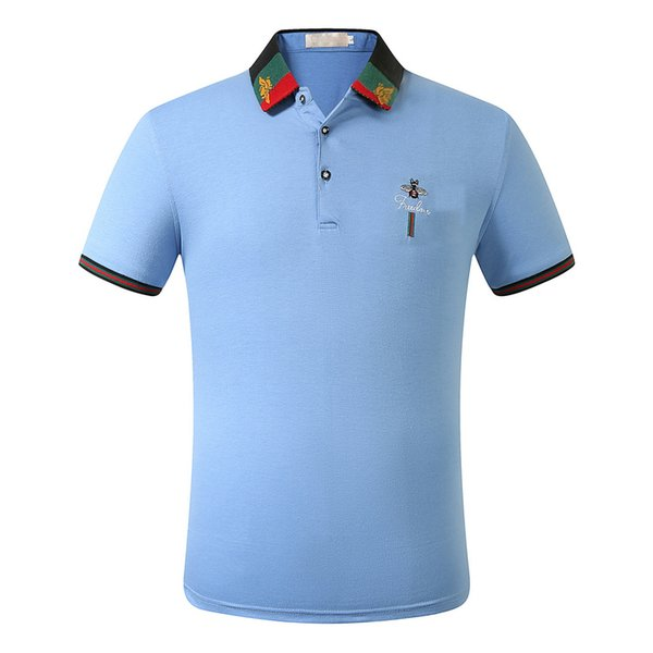 top popular Luxury Designer Polo For Mens Polo Shirt =2020 Summer Brand Polos Fashion Mens Tops Short Sleeve Clothing High Quality 2020