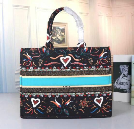 5a classique coloré fleurs de cerisier fleurs livre fourre-tout sac sac à main designer imprimé sac brodé grande capacité bourse sacs à provisions