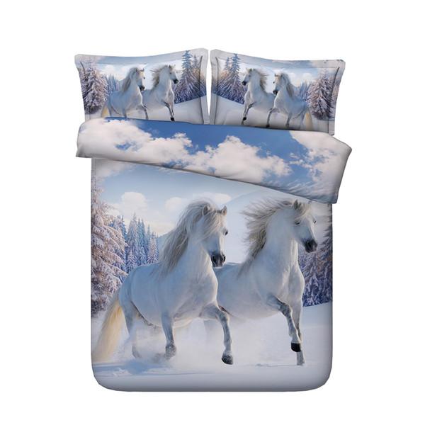 Copripiumino 3D Snow Horse Set Completo Copripiumino in cotone Microfiber Set 3 pezzi Animal Copripiumino stampato Set 2 Cuscini Shams