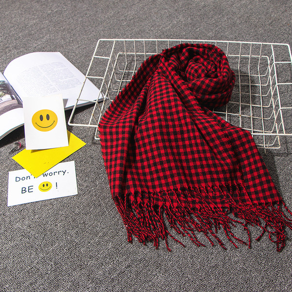 factory direct autumn and winter new positive small plaid scarf womens faux cashmere fringed plaid scarf shawl wholesale