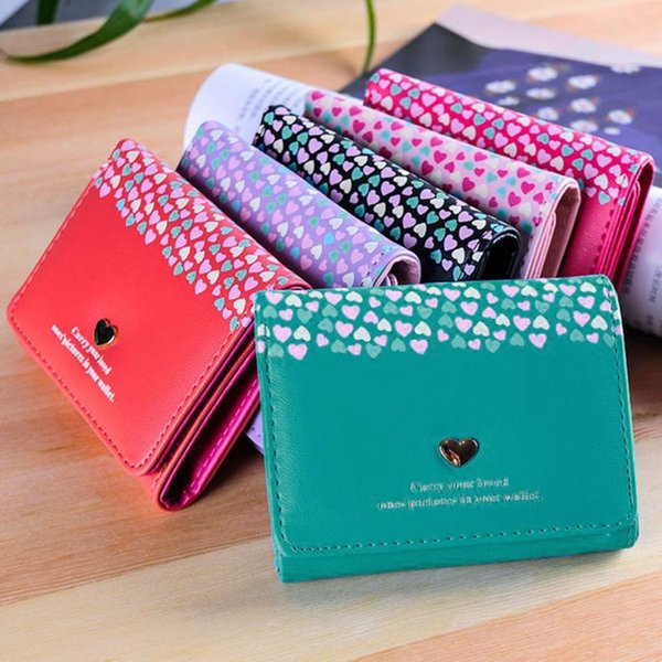 2019 NEW Fashion Women Love Heart Coin Purse Short Wallet Card Holders Handbag carteira cuzdan YL 3.3