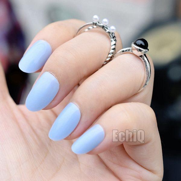 24pcs Oval Round Fake Nails Candy Baby Blue Acrylic Nails Full Cover False Nail Art Tips