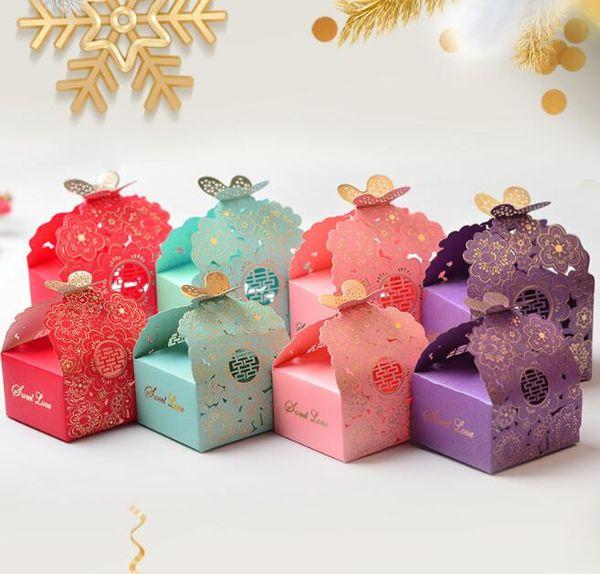 Papier Candy Box Hohl Schmetterling Europäischen Stil Geschenkboxen Hochzeit Gefälligkeiten Nette Persönlichkeit Pralinenschachtel GB414