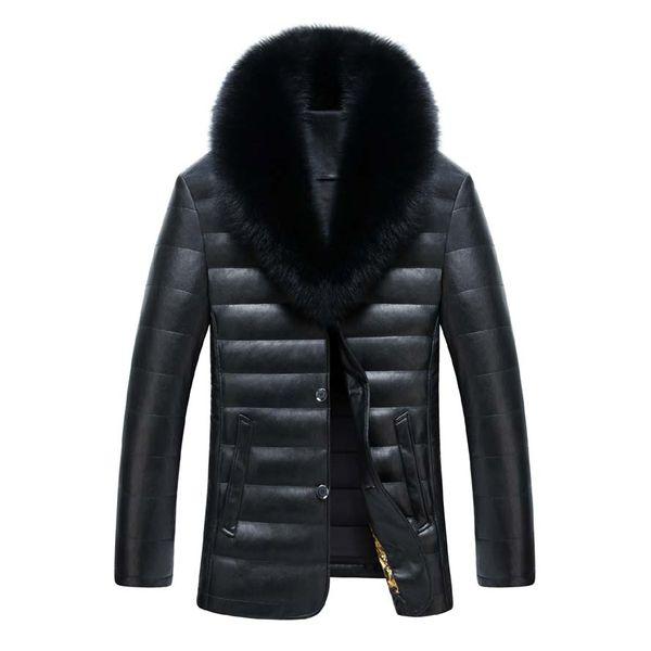 Gerçekten tilki kürk yakalı kış sıcak erkek deri ceket ve mont Yeni erkek ceket PU deri ceket erkekler uzun kış ceket