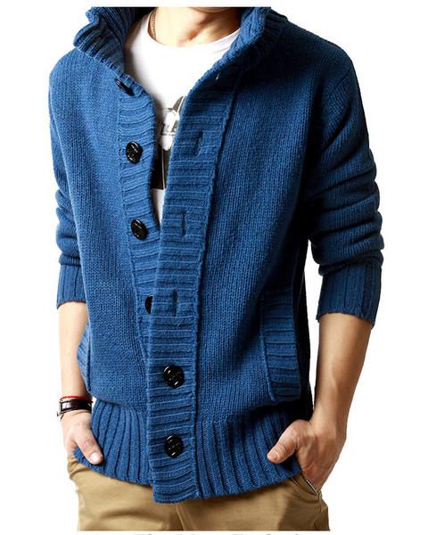 Moda Nuevo otoño invierno Chaqueta de punto para hombre Chaquetas Negro Mezcla de lana Espesar Slim fit suéteres de punto ropa de hombre M-2XL