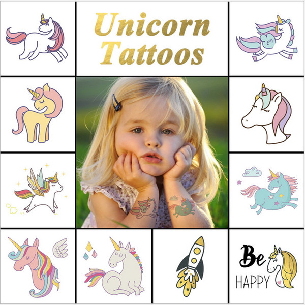 New Colorful Cartoon Unicorn Kids Tattoo Cute Fake Children Temporaire Body paint face tatto Waterproof Temporary Tattoo Sticker