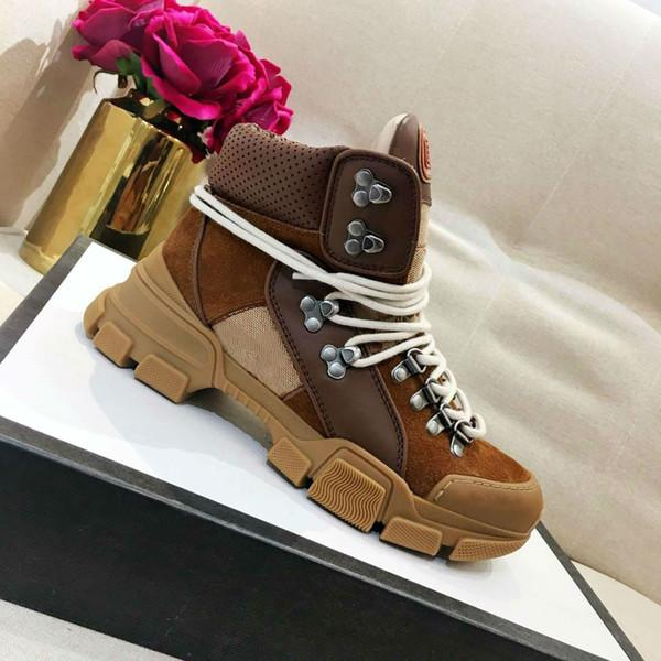 2018 Flashtrek sneaker kadınlar kahverengi deri sneakers lüks Kauçuk logo tasarımcısı sneaker çizmeler teknik tuval kadın yürüyüş ayakkabıları