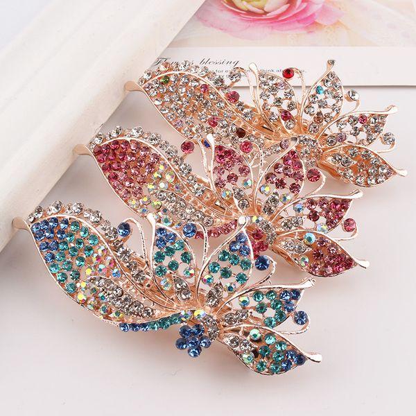 Czech Diamond imitation jade style hot rhinestone folder hairclips spring hair clips for women Girls fashion Ponytail Barrettes