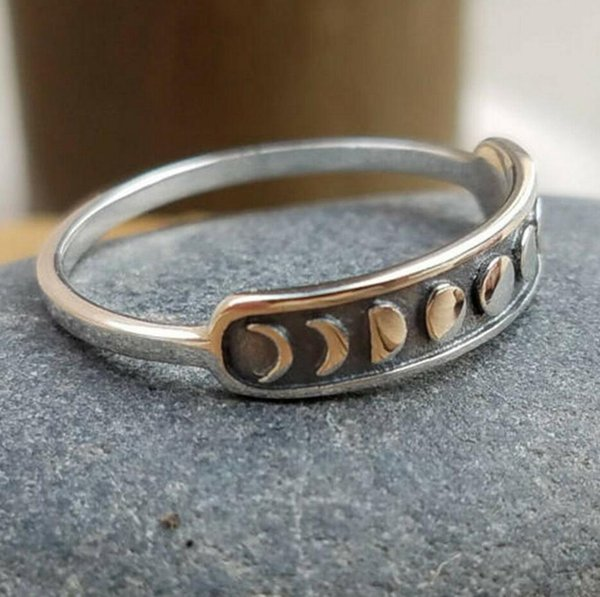 Hecho a mano de plata de la luna de la vendimia anillo de dedo anillo de la luna banda de joyería tamaño 7-10