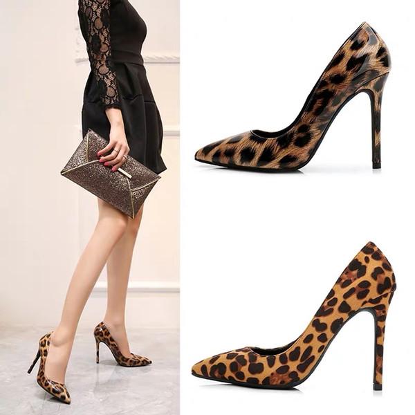 bene delle donne Europa e in America con i tacchi alti con la molla di nuovo modo selvaggio sottolineato leopardo temperamento sexy scarpe rosse netti