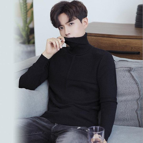 2019 2018 Winter New Men\u0027S Turtleneck Sweater Korean Version Repair Line  Sweater Men Autumn Winter Fashion Knitting Sweater From Aaazhenni, $99.5