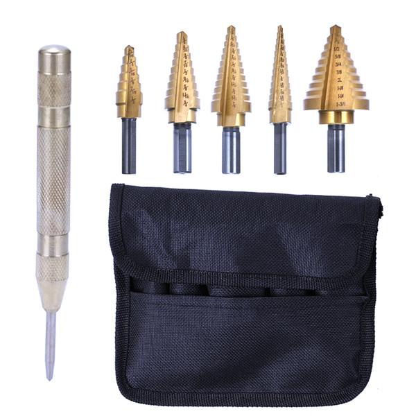 5pcs High Speed Steel 4241 Step Drill Bit Round Shank Twist Drills Set+1pcs Automatic Center Punch Drilling Tool Kit
