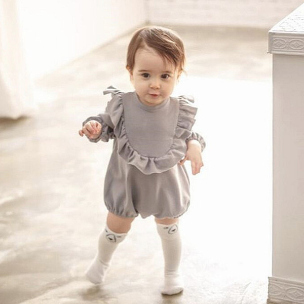 Everweekend Sweet Baby Toddler Girls Ruffles Pink Gray Color Romper New Spring Autumn Western Fashion Infant Romper Clothing
