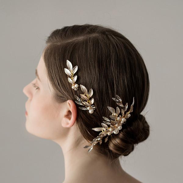 Handgemachte Perle Kristall Hochzeit Haarschmuck Clip Blätter Braut Kopfschmuck Kämme Frauen Haarschmuck b530