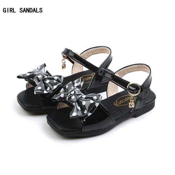 Girls PU Sandals 2019 Summer Kids Beach Shoes Toddler Sandal Girl Sandals Non Slip Children Shoes Dot Bowtie Design #13