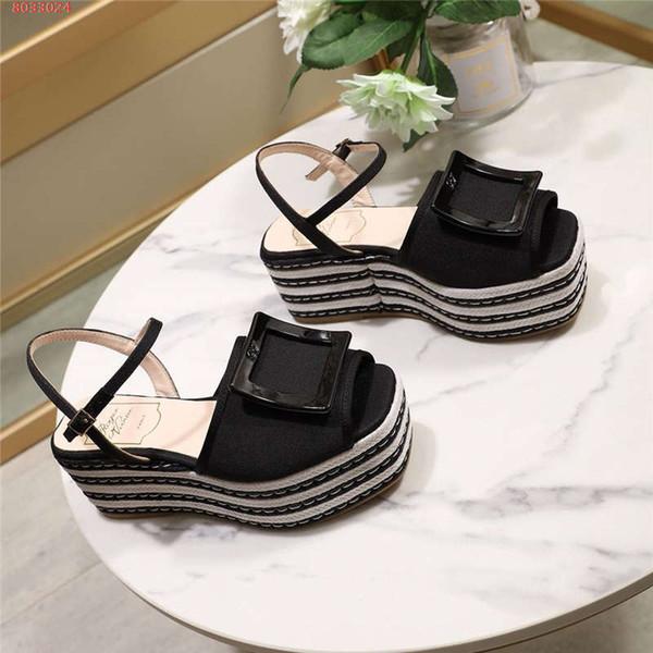 2019 Women Wedges Sandals Plus Size High Heels, Summer Shoes Pumps Bikiviv' Platform Espadrille Sandals Platform Sandals with Box Size 35-41