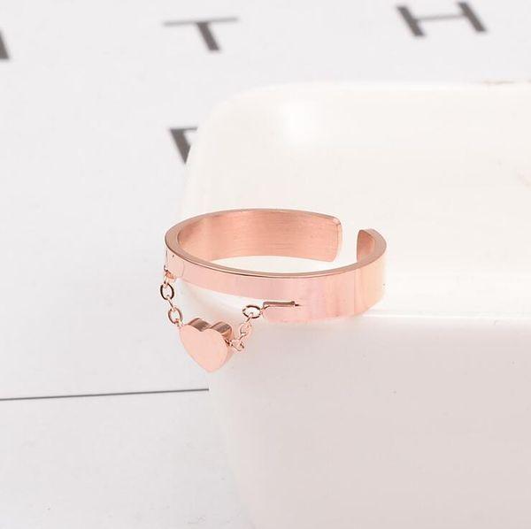Personalidad de la moda Acero inoxidable Corazón Encanto Anillo abierto 316 Anillo de corte de acero de titanio Expandible Tamaño flexible IP Chapado en oro rosa