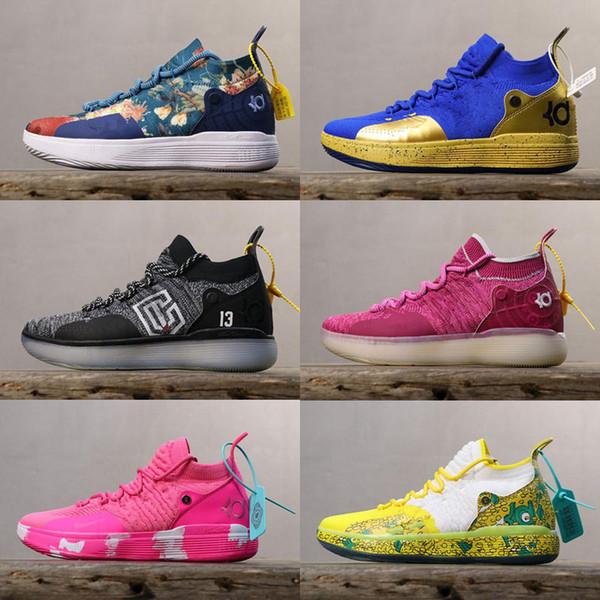 Zapatos de baloncesto KD 11 para niños de alta calidad Salpicaduras de oro Kevin Durant 11s Diseñador Multi-Color / Metallic Gold para hombre zapatos