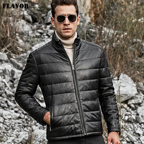 Homens de pele de carneiro de couro genuíno para baixo homens jaqueta gola branca quente para baixo casaco