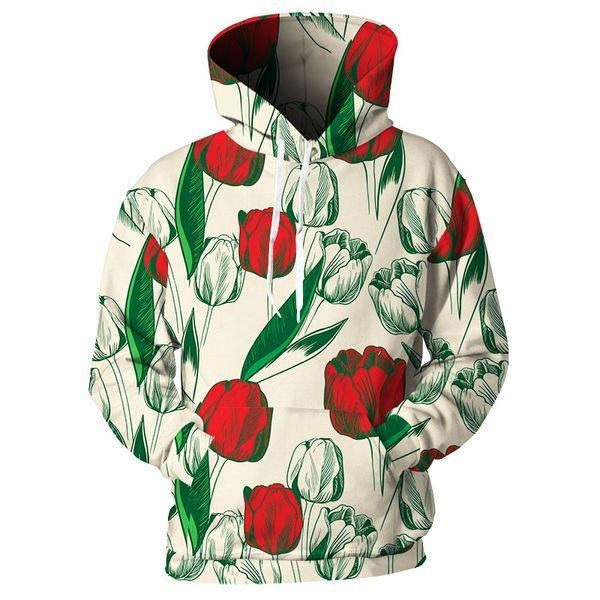 Cloudstyle Tropical Plant Printed Hoodie Women Men Clothing Fashion Brand Sweatshirts 3D Tulip Pullover Hip Hop Loose Hoody Tops