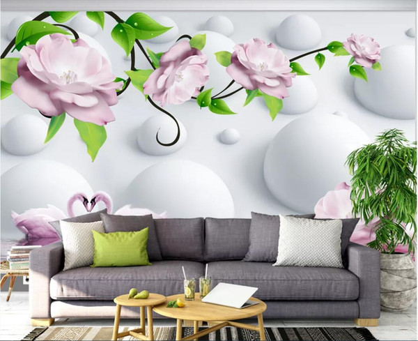 3d room wallpaper custom photo mural Romantic rose swan lake landscape background wall decoration painting wallpaper for walls 3 d