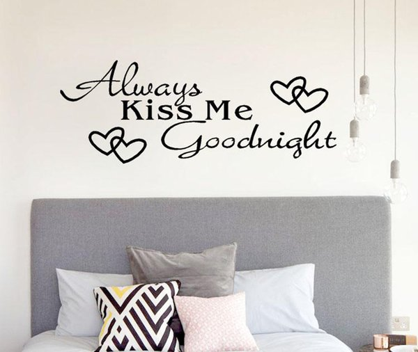 Always Kiss Me Goodnight Home Decor Wall Sticker Pvc Wallpaper Decal Bedroom Vinyl Art Mural Wall Stickers Home Decorations Wall Art Wall Decals Wall