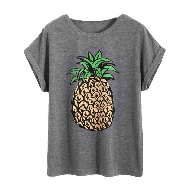 Camisas mujer verano 2019 Mujer Impresión con piña Top Camiseta de manga corta Tops Mujer Ropa roupas feminina Mujer Mujer