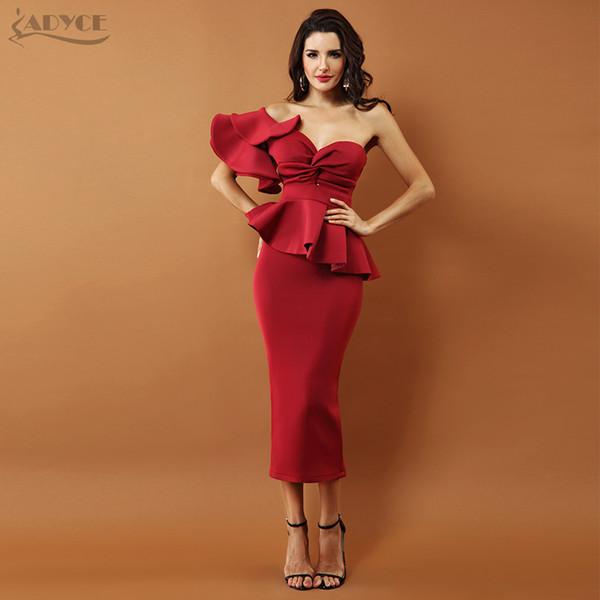 Adyce Celebrity Evening Party Women 2019 Sexy Bodycon Imposta una spalla Ruffles manica corta senza spalline Club Dress Vestidos C19040101