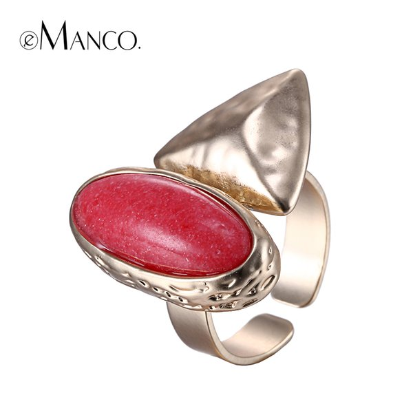 ring jewelry silver eManco Popular Vintage Luxury Geometric Cuff Rings for Women Red Stone Copper Adjustable Size Jewelry & Accessories