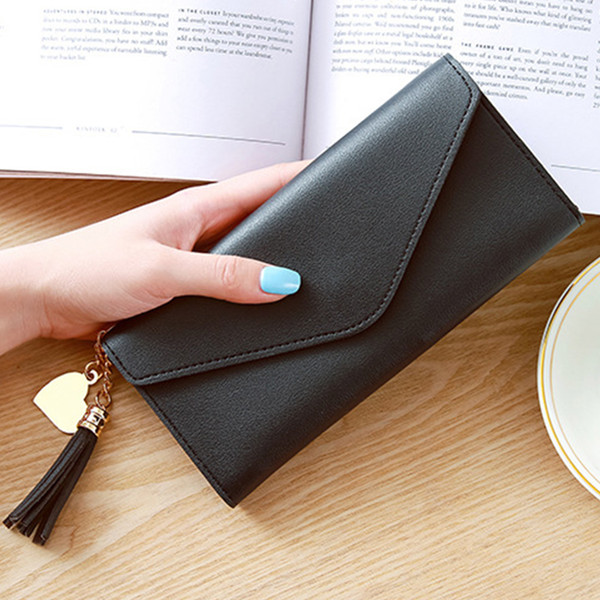 Litchi Pattern Ladies Purse Long Tassel Women Wallets Credit Card Holders Famous Brands Clutch Bag Coin Purses Pu Leather Solid