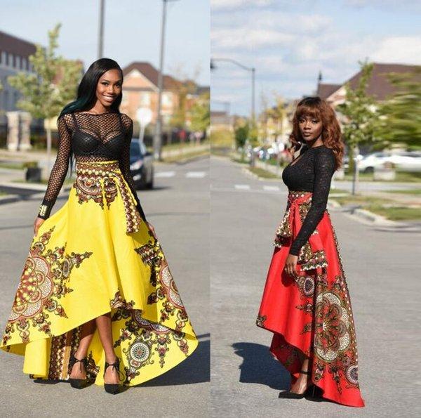 El suministro de explosivos es popular en la impresión de moda en África antes de la falda larga y elegante y larga que fluye