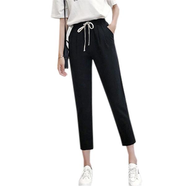Women High Elastic Waist Harem Pants Female Thin Loose Casual Cotton Linen Pants Summer Black Gray Ankle Length Pants Re0625