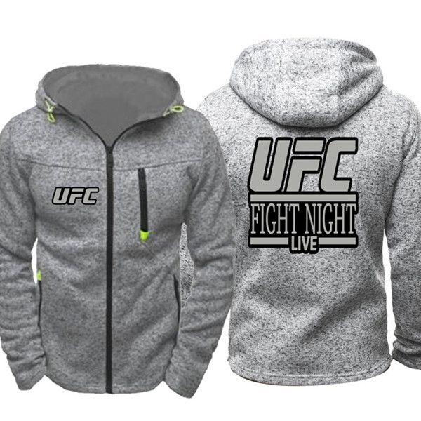 Yüksek Kalite Erkekler Bahar Sonbahar UFC Fight Gece MMA Hoodies Tişörtü Fermuar Unisex Kapşonlu Palto Uzun Kollu Ceketler Kabanlar