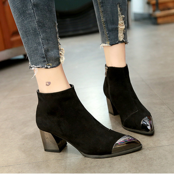 Winter Women Sexy Ankle Boots Boots Black Platform pointed High heels boots Suede Top quality shoes. ghn57