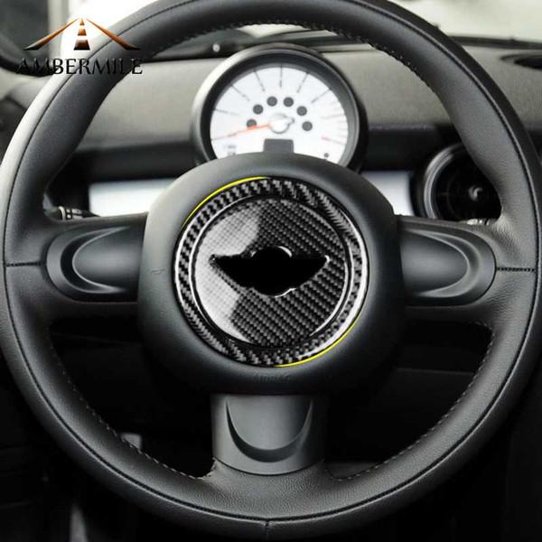 AMBERMILE Carbon Lenkrad Aufkleber Abdeckung Trim für Mini Cooper Clubman R55 R56 Countryman R60 Paceman R61 Zubehör