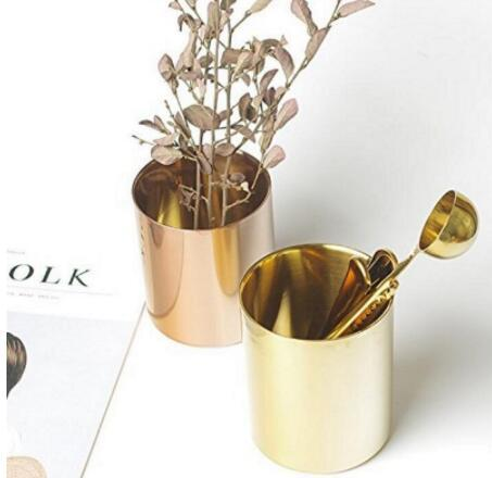 400ml Nordic Style Brass Gold Vase Stainless Steel Cup Cylinder Pen Holder for Desk Organizers