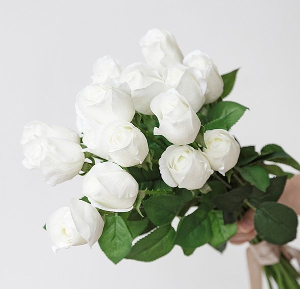 white rose artificial flower for wed decoration home decoration silk flower with real touch