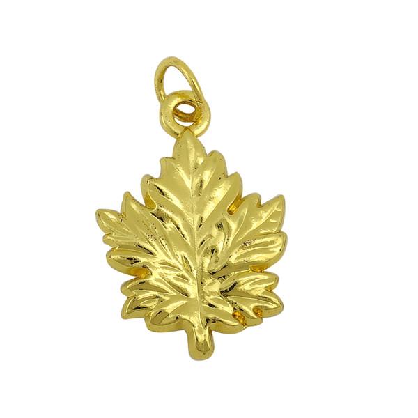 Myshape Gold Color Maple Leaf Floating Charms Pendants With Hoop DIY Bracelet Jewelry Wholesale 10pcs lot