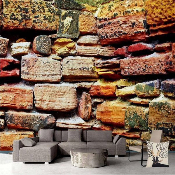 custom color stone background wall 3d p wallpapers restaurant coffee house industrial decor mural personality wall paper 3d