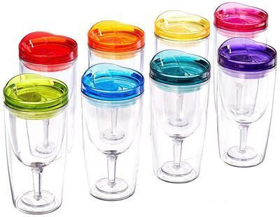 Пластиковые винные стаканы с изолированной крышкой для напитков